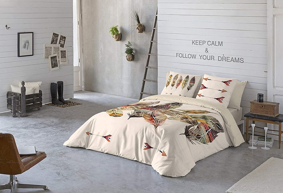 Couette Flora 2 Places - Boho Feather 3 - 240x260
