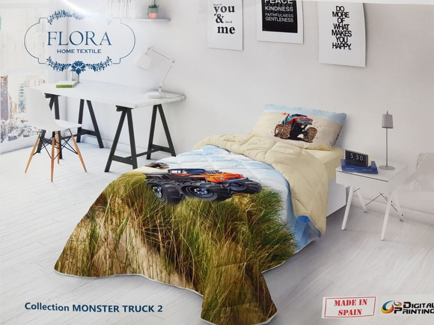 Couette Flora 1 Place MONSTER TRUCK 2 160x240