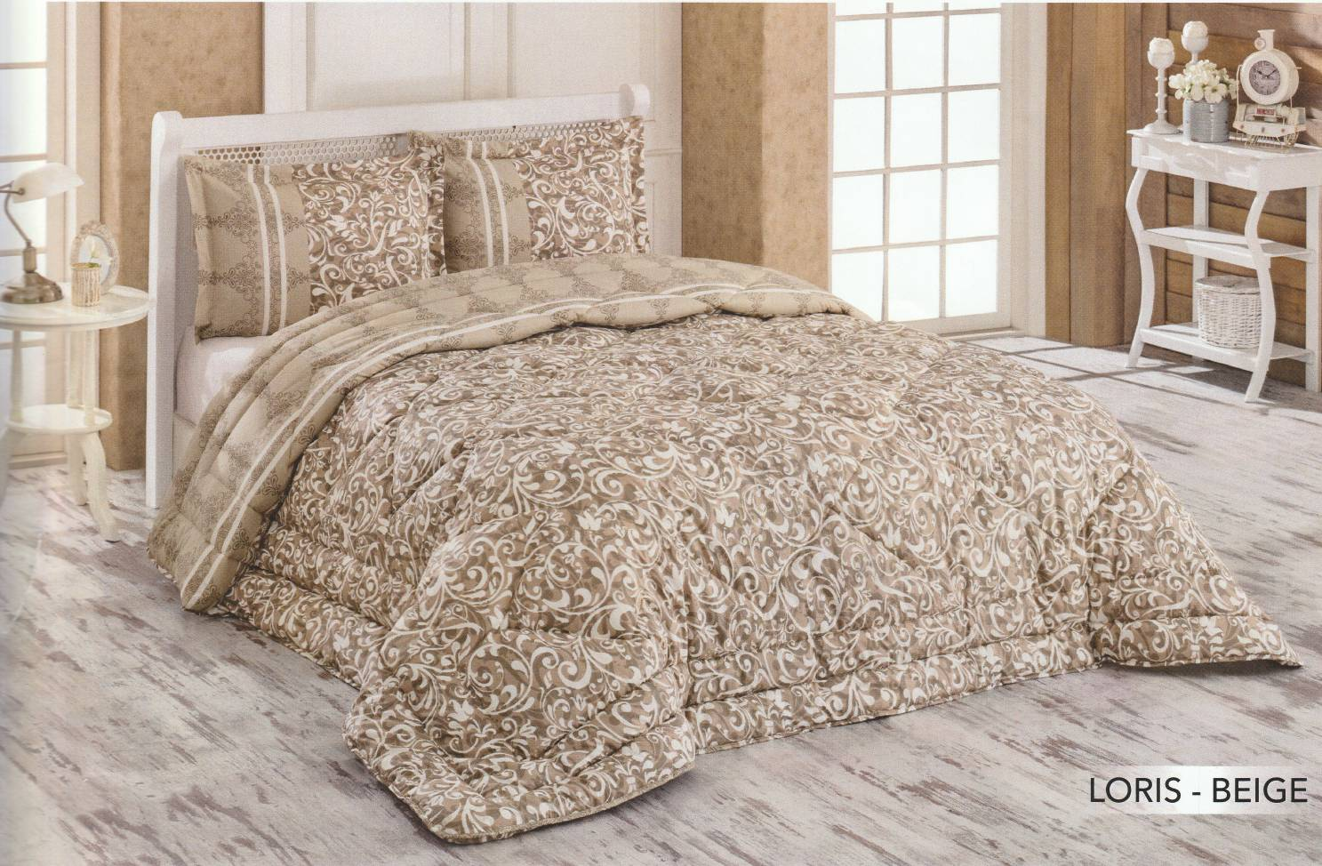 Couette Cotton Doux 2 Places LORIS BEIGE 240x260
