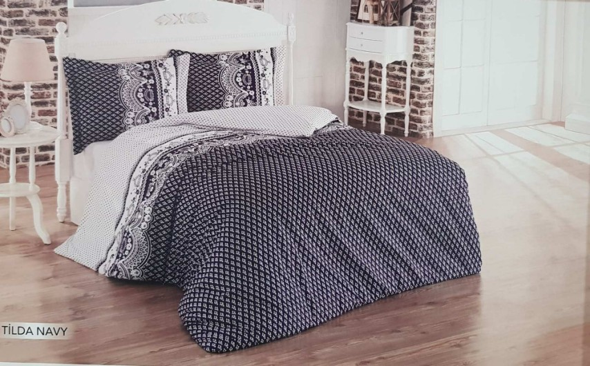 Draps Cotton Doux 1 Places TILDA NAVY 90x190