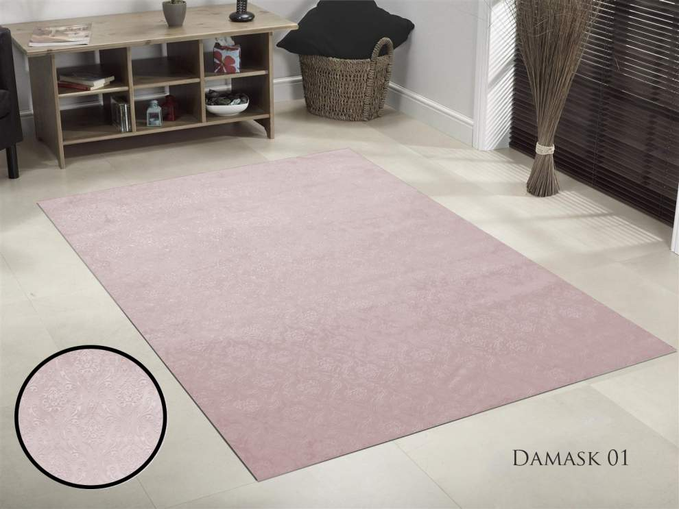 TAPIS DE SALON GAUFRE DAMASK ROSE 190x300