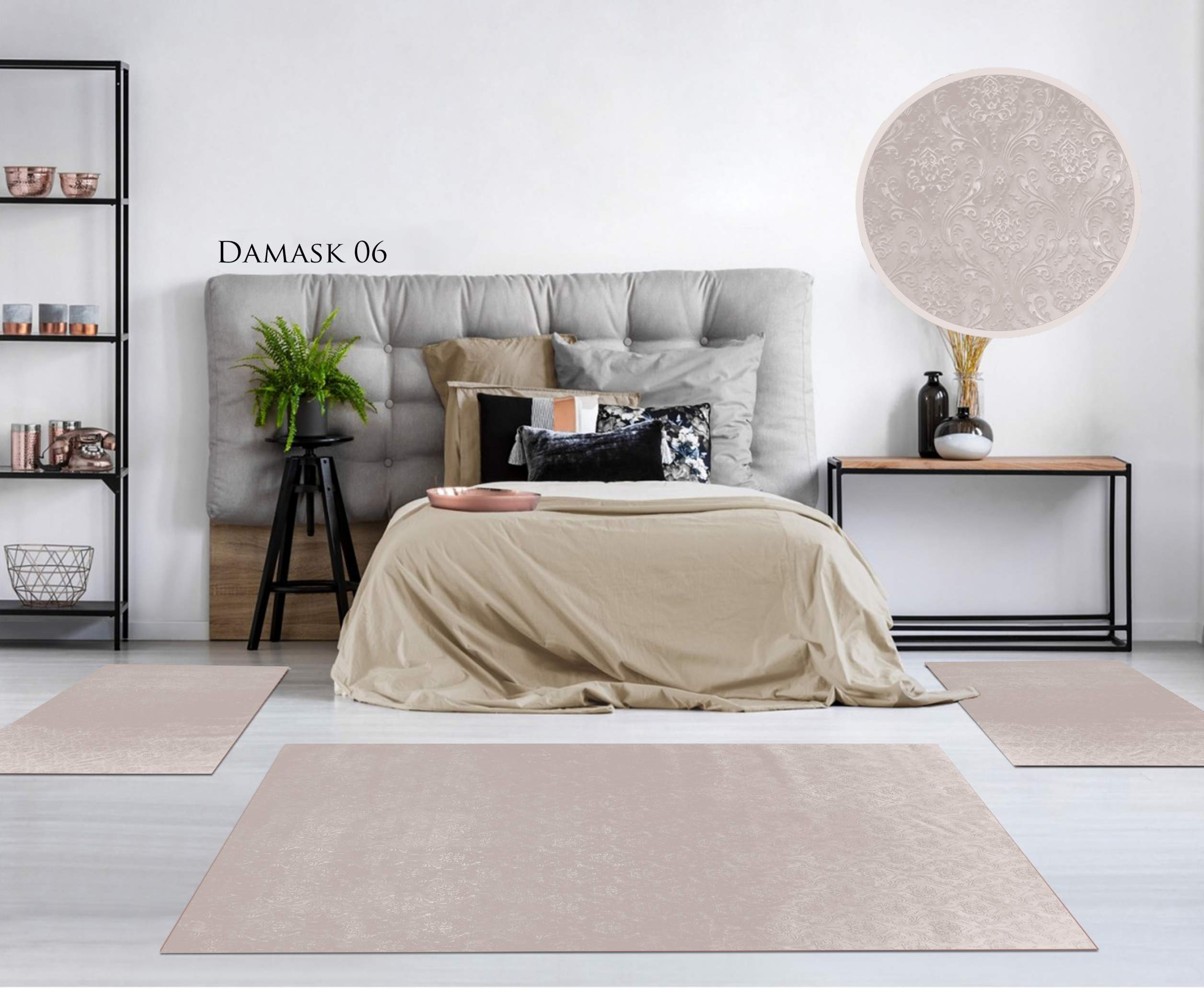 TAPIS CHAMBRE GAUFRE DAMASK CAPPUCINO