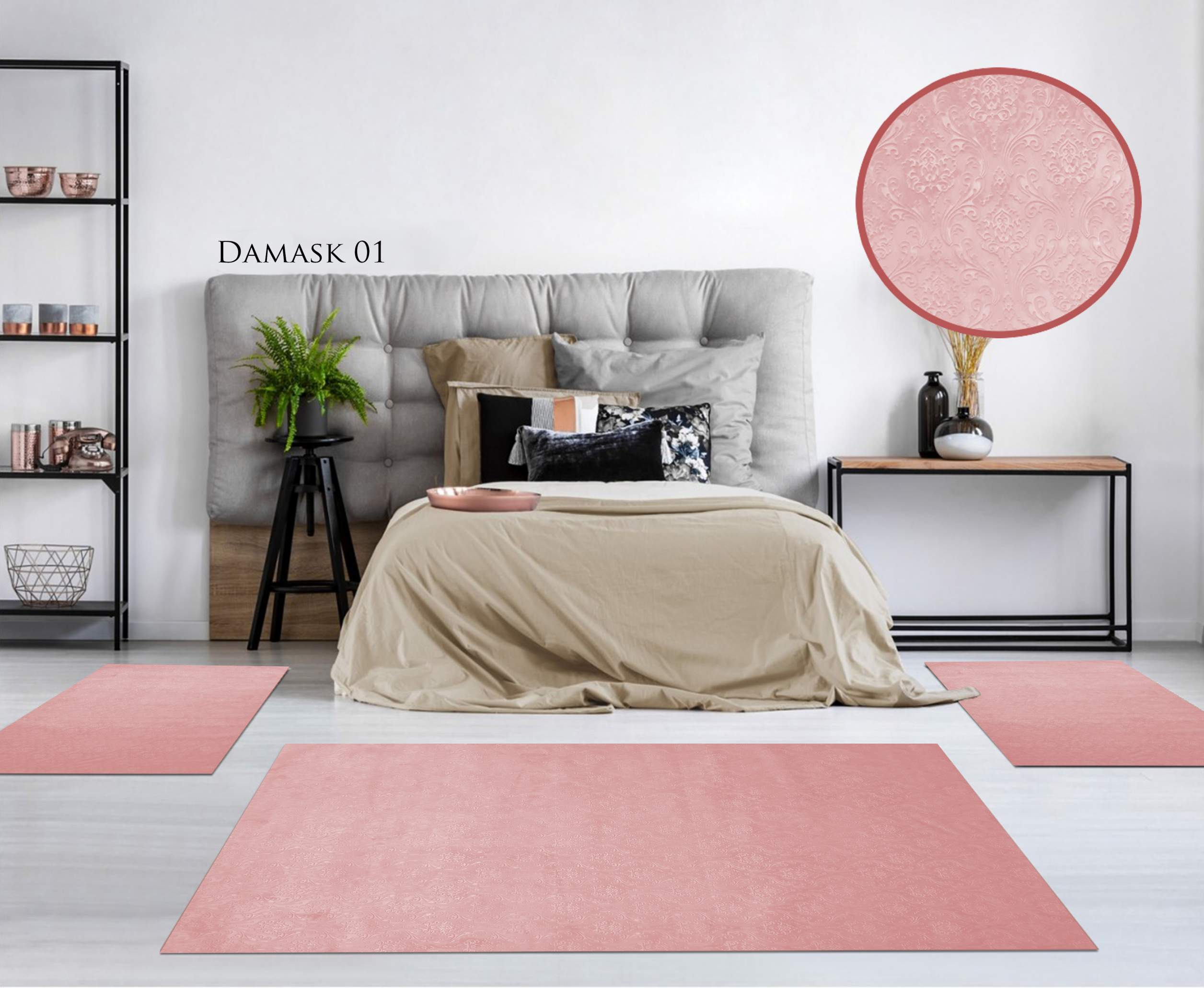 TAPIS CHAMBRE GAUFRE DAMASK ROSE