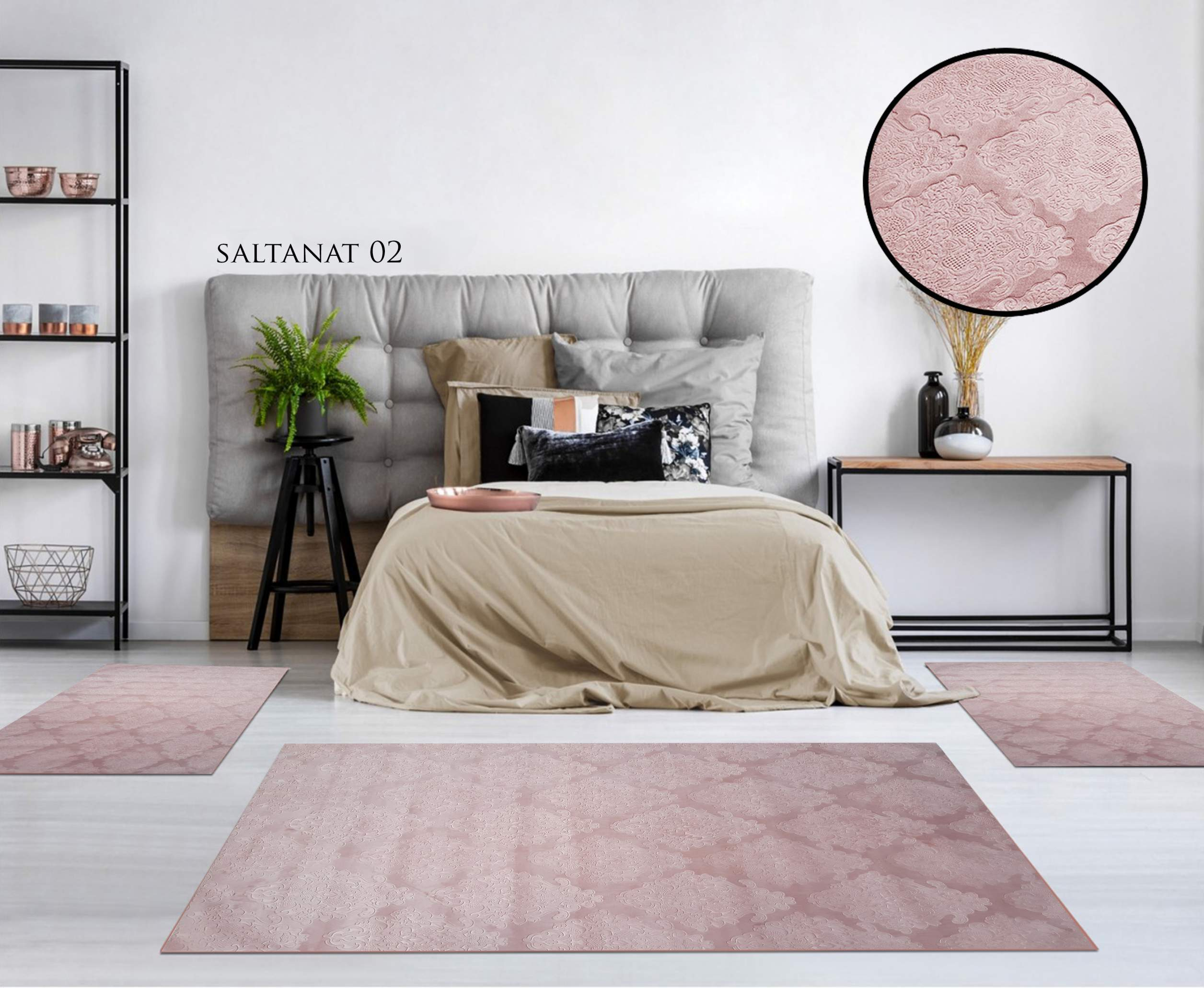 TAPIS CHAMBRE GAUFRE SALTANA ROSE