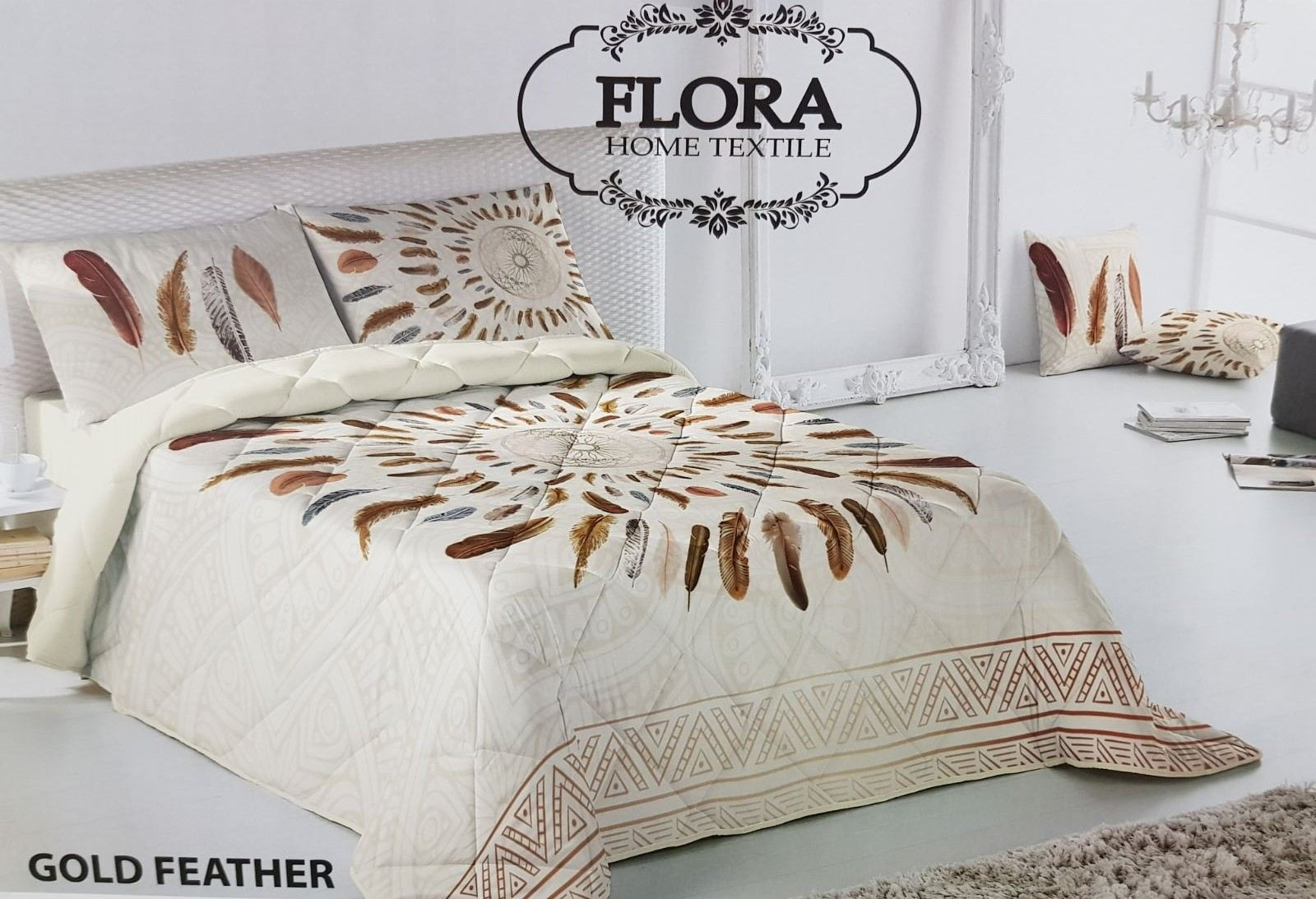 Couette Flora 2 Places - Gold Feather  - 240x260