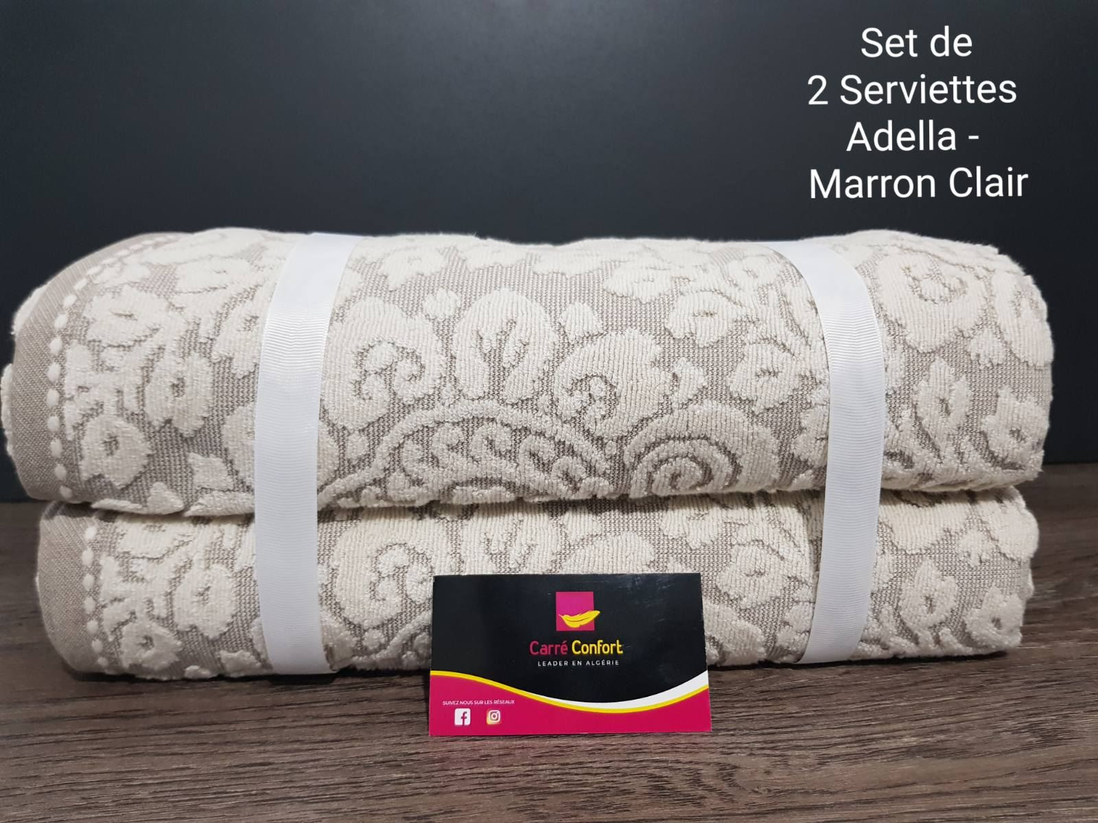 set de serviettes de bain - adella - Marron Clair