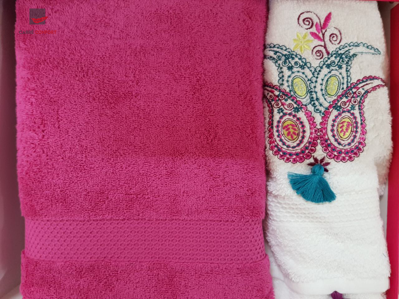 Pack Serviette Rose Fushia Cotton Doux