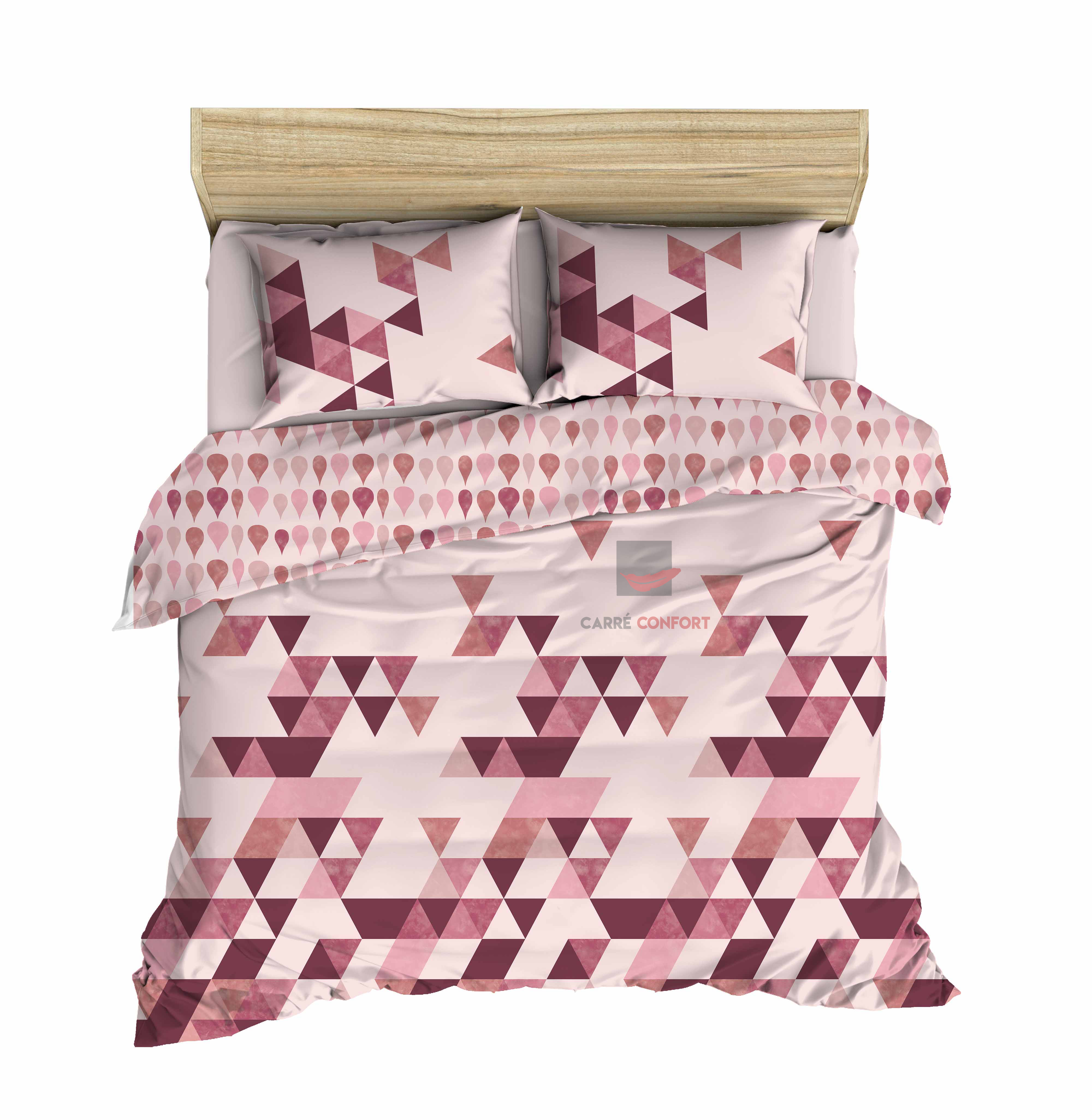 Couette Cotton Doux 2 Place ikat burgundy 240x260